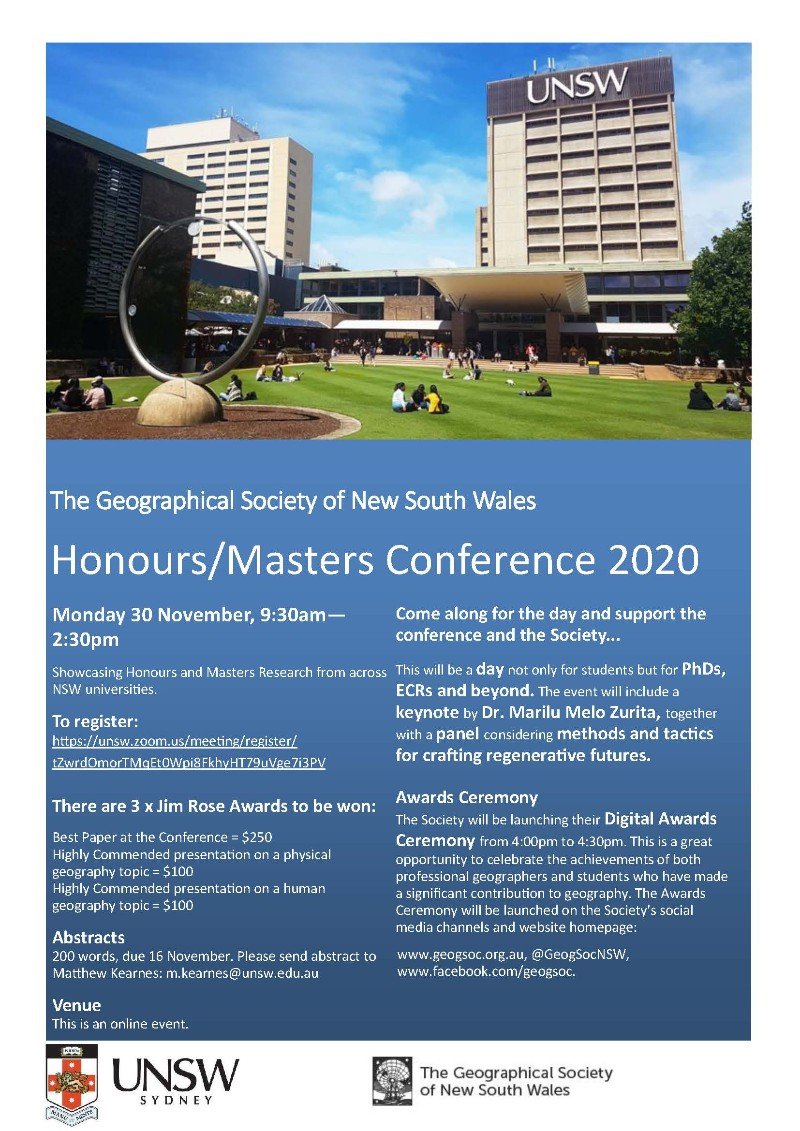 2020 Honours/Masters Conference